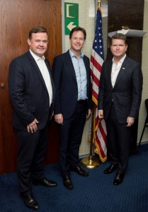 Ambassador Barzun and JAS Chairman, Richard Stephenson, welcome Nick Clegg to the US Embassy